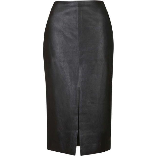 TOPSHOP Black PU Leather Midi Pencil Skirt
