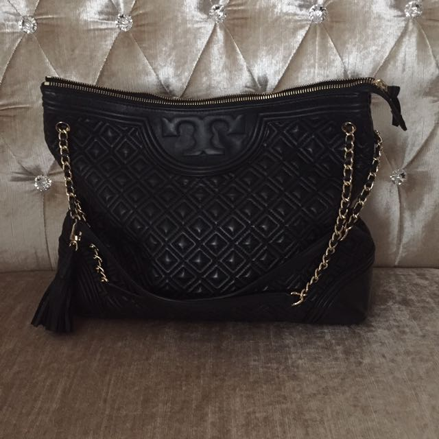 Tory Burch Quilted Fleming Leather Tote
