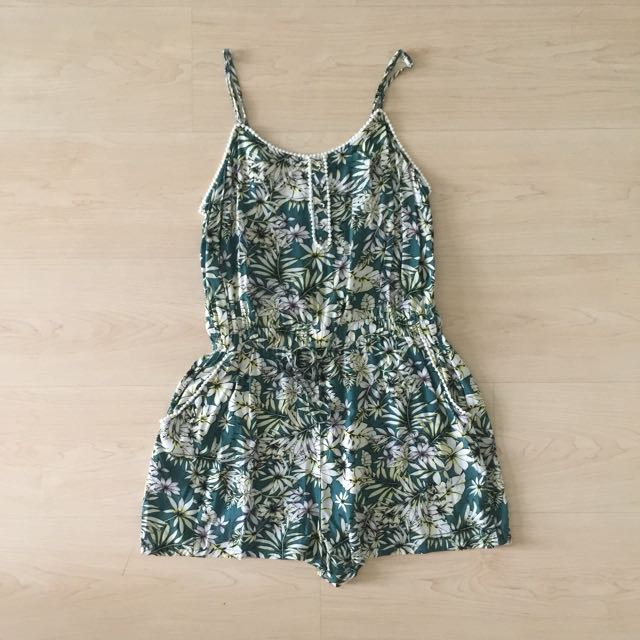 Tropical Green Floral Playsuit