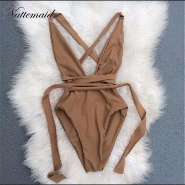 V neck tan bodysuit Size S