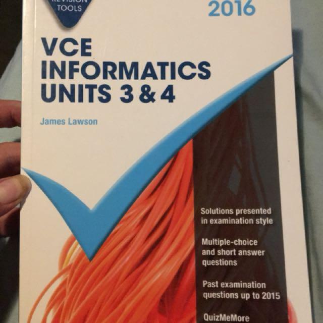 VCE Informatics units 3 & 4 (IT year 11 & 12) Cambridge checkpoints series for VCE success