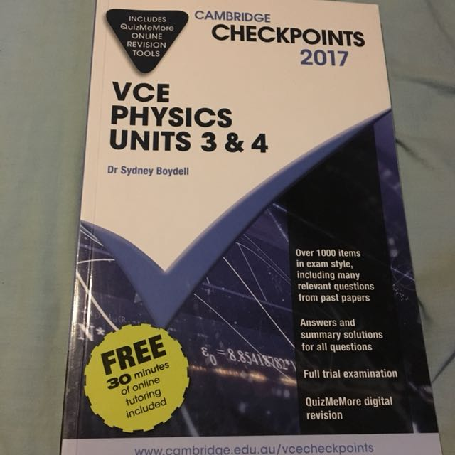 VCE Physics units 3 & 4 - Cambridge Checkpoints series for year 11 & 12