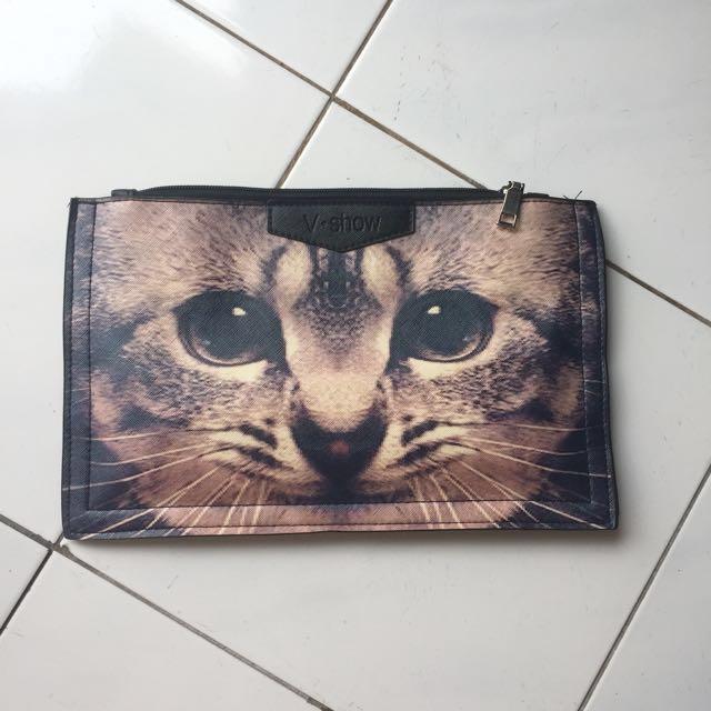 VINTAGE CAT CLUTCH / SLING BAG