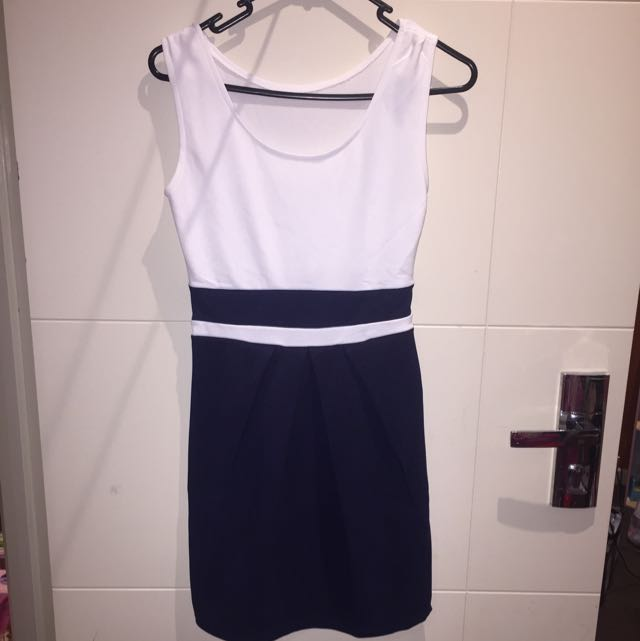 White and Blue Party Dress- Free Postage