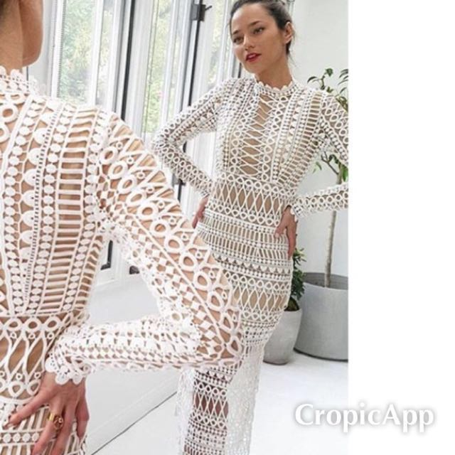 White long sleeve lace dress size M/L or US 6/8