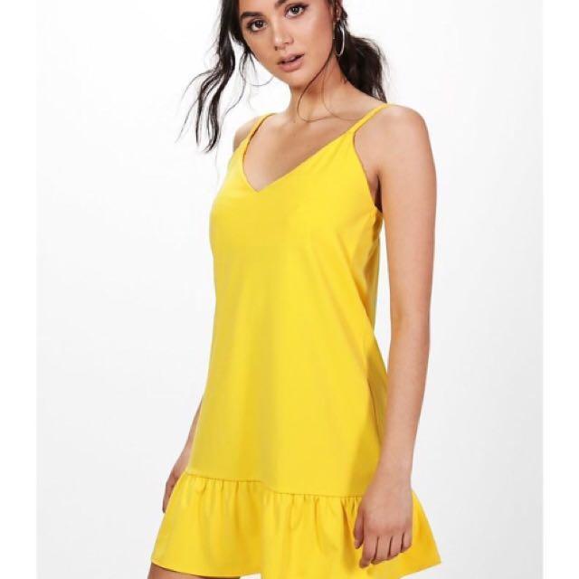 Yellow Slip Dress Frill Hem