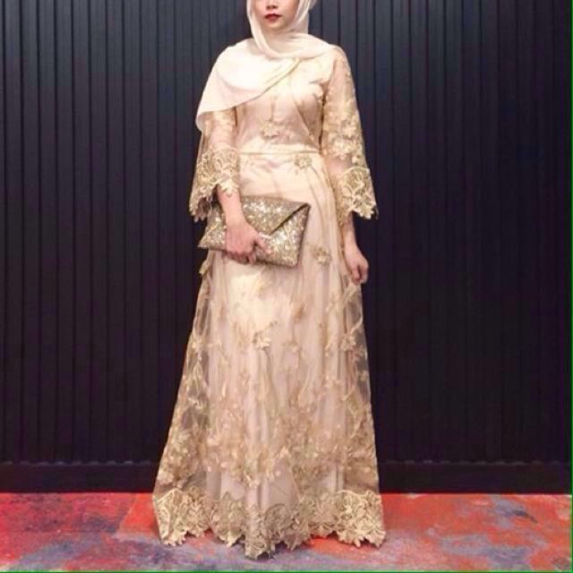 Zalia Gold Embroidery Lace Dress