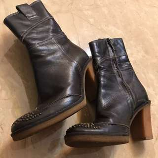 FIORUCCI Size 36碼 Made In Italy 🇮🇹意大利製造 生膠底三寸半高跟深啡色真皮皮靴👢brown Genuine Leather 3.5 Inched High Heels