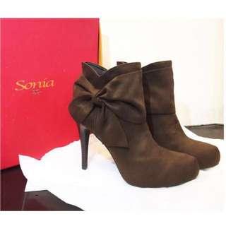 Sonia蝴蝶結氣質踝靴/短靴/高跟鞋#舊愛換新歡