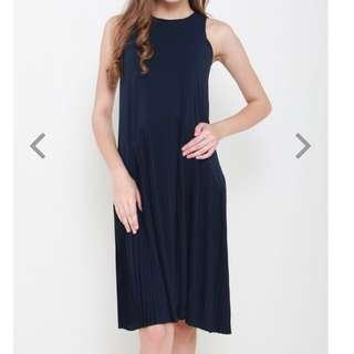 Styled Label Olivia pleats drop waist midi (Navy)