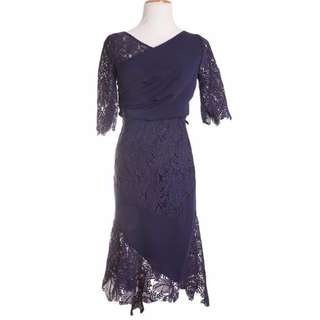 (New) Mag, Lace 2pcs Top and Skirt, Dark Blue, S Size