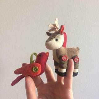 Starbucks Bird & Reindeer Ornaments