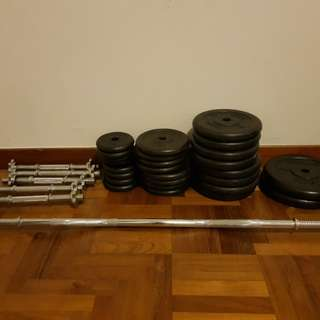Aibi weights, dumbells, bars and curl bar