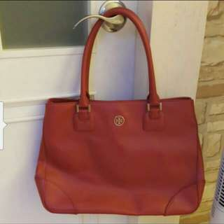 Tory Burch Red Color Leather Hand Bag 90% new