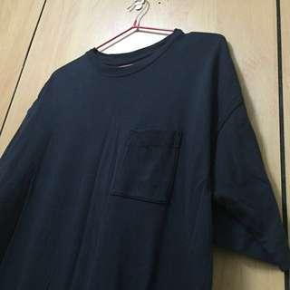 MUJI無印良品,寬鬆口袋長版T恤,深藍M號