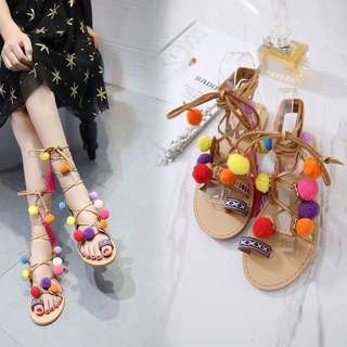 Bohemian Colourful Pompom Tie-up sandals