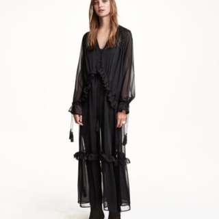 H&M Frilly maxi dress with tassels