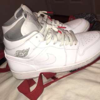 Jordan 1 white with red accents