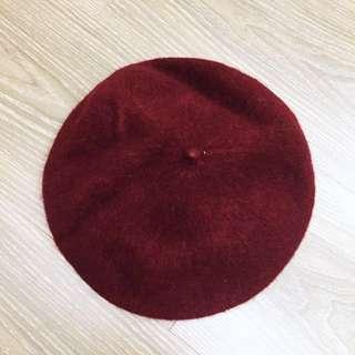 深酒紅貝蕾帽