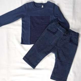 Baby Dior Boy Blue Long-Sleeved Shirt and Corduroy Pants