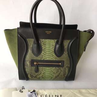 Celine Micro Luggage Pyhton Olive 2012 (27-40x26x14cm)- (barunya 70jt lebihh)
