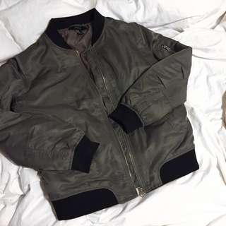 Grey Aviator Bomber Jacket