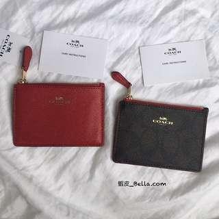 美國代購🇺🇸 Coach 紅色 深咖色logo 小零錢袋 卡包 鑰匙圈零錢袋 照片夾零錢包 零錢袋 小錢包 拉鍊包