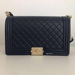Chanel Boy Bag (New Medium) in Dark Navy Blue with Light Gold hardware