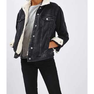 Black jean jacket with fur topshop