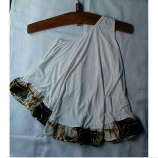 One shoulder white batik