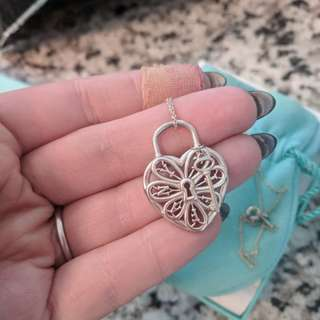 Authentic Tiffany & co. Filigree Heart Pendant with mini key