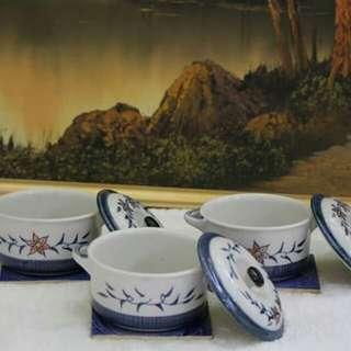 3 pcs JAPANESE Ramen bowl w/handle & cover