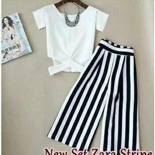 New set zara stripe putih