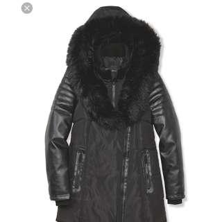 Black fur hood leather sleeve winter coat