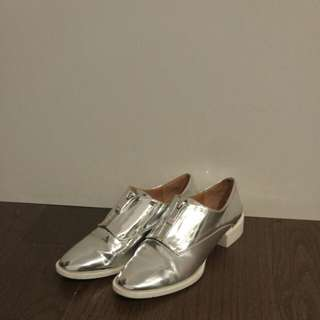 Zara silver zip up shoes