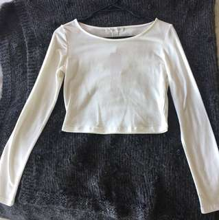 NEW Forever 21 white midriff long sleeve