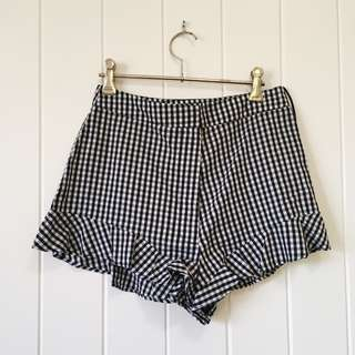 Gingham Frill High Waisted Shorts