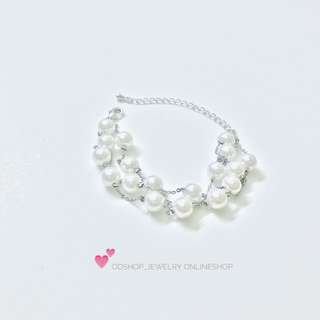 #手鏈 鍍玫瑰金多層珍珠手鏈