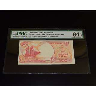 1992_2000 Indonesia Bank Indonesia 100 Rupiah Pick#127h PMG 64EPQ Choice UNC S_N ZPD262386