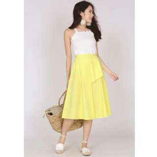 MDS Asymmetric Ruffle Skirt in Yellow BNWT