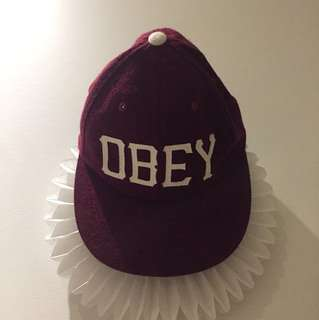 OBEY Maroon Wool Baseball Cap with Leather Strap