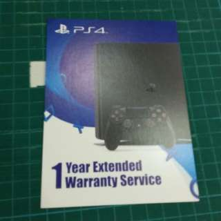 PS4 1 year extended warranty card