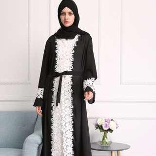 Abaya brokat hitam putih