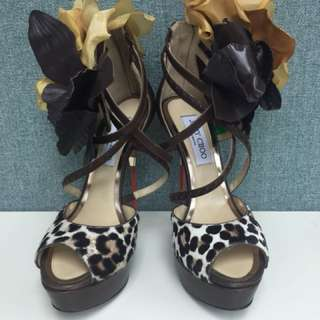 Jimmy Choo flower trap heels Sz 36.5