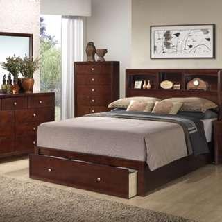 Deep Rich Cherry Storage Eastern King Bed Bedroom Set