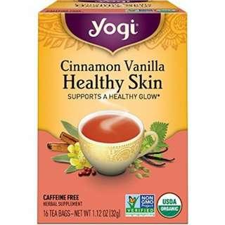 Yogi Tea, Cinnamon Vanilla Healthy Skin, USDA認證 Organic 瑜伽茶 香草茶 美顏茶 健康的 皮膚  無咖啡因 美國代購