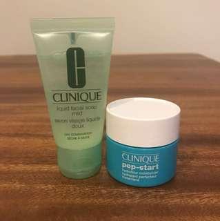 Brand New Clinique Liquid Facial Soap (Mild) and Pep-Start Hydroblur Moisturizer