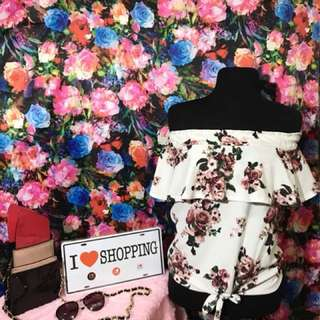 Off Shoulder Floral Tie Top
