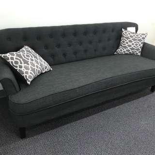 2pcs Modern Luxury Dark Blue Grey Blended Sofa Loveseat Set