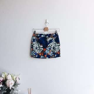Topshop floral tropical skirt with double zip